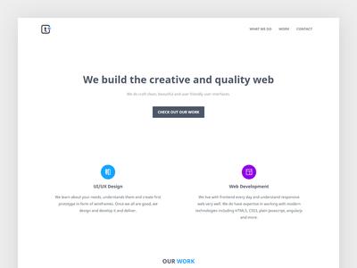 Landing Page studio website clean ux ui landing flat