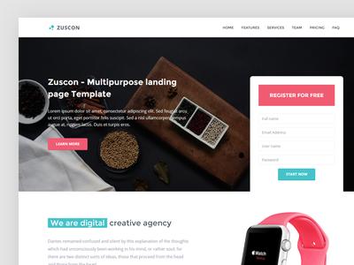 Zuscon - Landing studio website clean ux ui landing flat