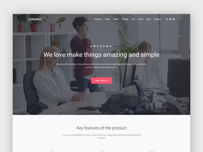 Landsay - Landing Page Template startup template startup landing page startup landing product launch marketing launch landing page creative corporate business agency