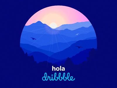 Hola dribbble! first shot new thanks blue illustration dribble debut landscape