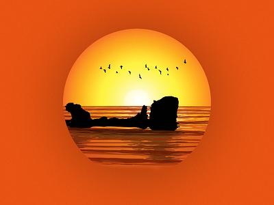 Playa El Tunco warm sunset sun illustration landscape stone beach ocean
