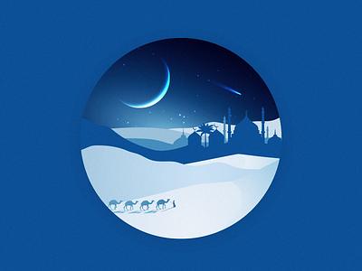 Night in the Desert desert illustration dribbble blue landscape