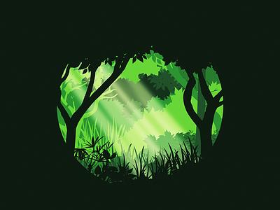 Woodland trees woods illustration dribbble green landscape