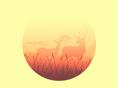 Deer Sunset illustrator minimalism deer circle minimal landscape sunset