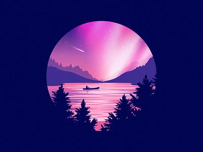 Boat ride under the stars lake illustration dribbble purple landscape