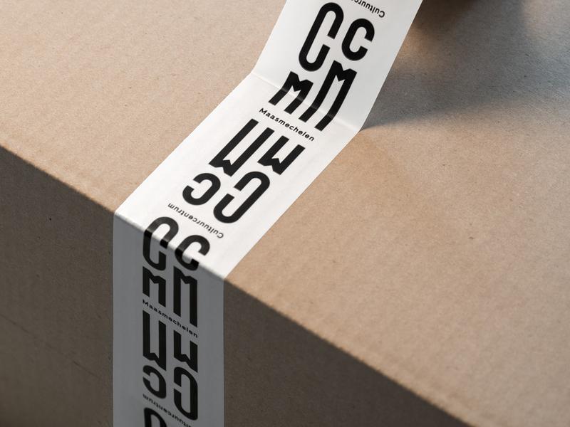 CCMM Identity - Tape packaging tape minimal collateral stationery print design modular design modular modernism logomark logo letterlogo identity grid system grid logo custom font custom design cultural maasmechelen cc