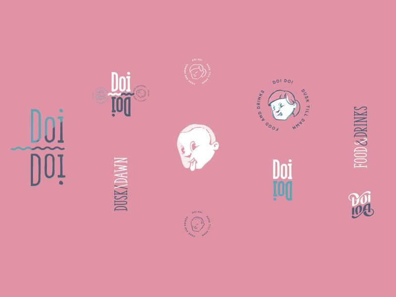 Doi Doi Logo Set restaurant branding eskader duotone logo set stamps foodies asian food asian character design character font font design logomark stationery logo design typeface branding illustration logo identity