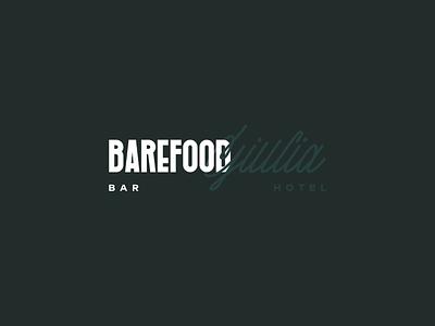 BAREFOOD Giulia script lettering brutalism hotel branding hotel boutique hotel bar lettermark lettering typography font font design logomark stationery typeface logo design branding logo identity