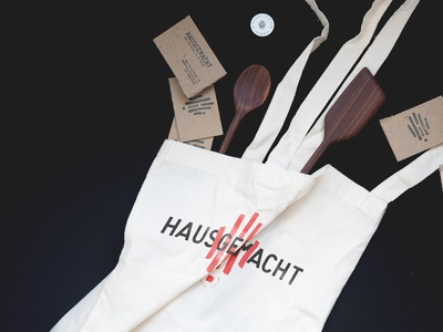 HAUSGEMACHT Totebag haus woodworking woodcut spoon sustainable reusable upcycling recycle hand drawn handmade hand monogram font design logomark stationery typeface logo design branding logo identity