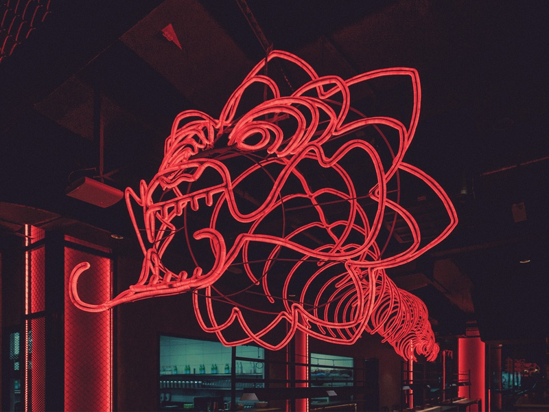 FAT CHOW Neon Installation 3d art restaurant sculpture neon light neon installation art installation monoline logo monoline hong kong hakka dragon logo dragon chinese food chinese culture chinese brand identity branding asian food asian