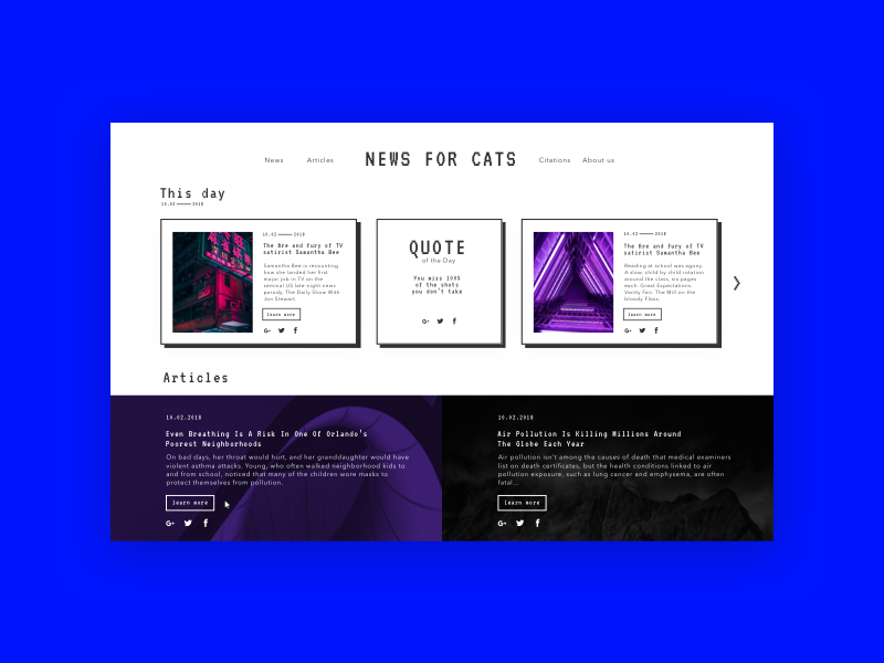 Home page for the news site news brutalism neon pixel articles dailyui ui interface