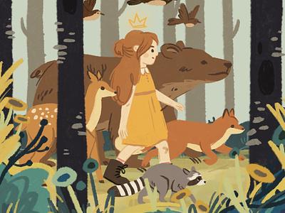 Stay Wild childrens illustration childrens book digital painting fox bear deer wild woods animals girl forest botanical cute art character cute nature procreate ipad ipadpro illustration