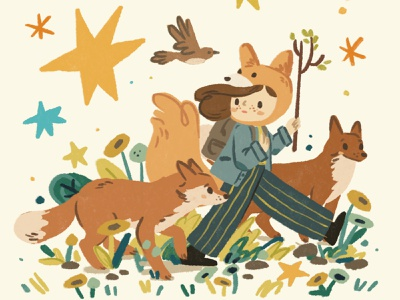 Wild parade botanical digital painting digital drawing woods foxes fox childrens illustration childrens book girl forest character nature procreate ipad ipadpro illustration