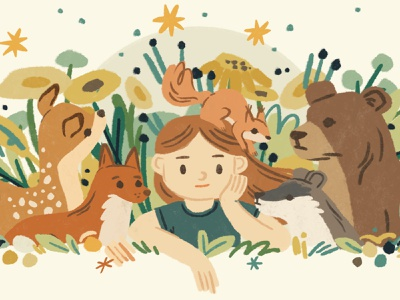 Forest dreams digital painting wild woods plants squirrel racoon bear deer fox childrens illustration childrens book botanical girl forest procreate illustration ipadpro character nature