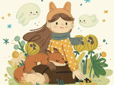 Forest girl #2 forest animals plants magical ghost kids illustration fox wild woods nature forest botanical flowers childrens illustration childrens book girl cute character procreate ipadpro illustration
