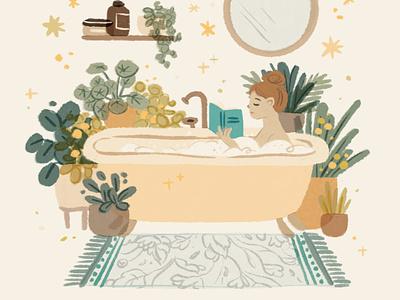 Slow down living | take a bath chill relax plants interior bathroom bath editorial lifestyle slow living mental health self care welness female woman girl character ipad procreate ipadpro illustration