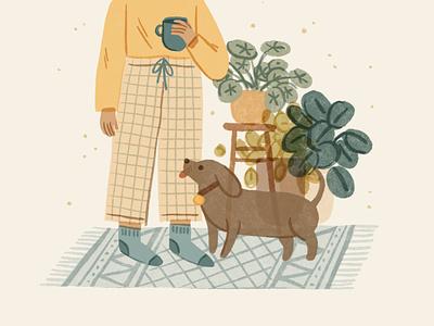 Slow Down Living | PJs all day dog illustration welness mental health lifestyle living cozy slow living pajamas pjs plants interior pet girl character ipad procreate ipadpro illustration