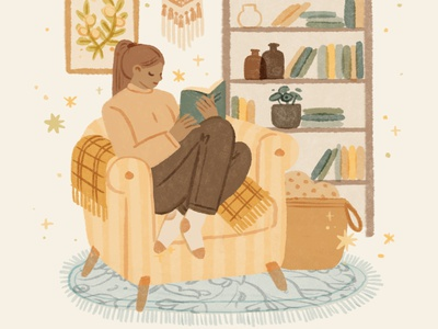 Slow Down Living | Read welbeing home library woman cozy lifestyle living slow living self care welness mental health interior book reading girl character ipad procreate ipadpro illustration