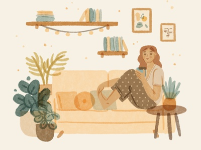 Slow down living | stay home cozy relax woman living room couch stay home home lifestyle interior mental health self care slow living botanical girl cute character ipad procreate ipadpro illustration