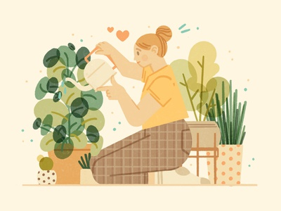 Plant Lady hygge cozy stay home greenery plant love plant girl indoor jungle indoor plants flowers jungle plant lady plants nature girl character ipad procreate ipadpro illustration