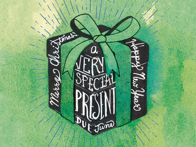 Present illustration drawing announcement birth baby present green watercolor lettering