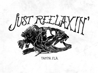 Just Reelaxin' text illustration handmade drawn analog boat grouper tampa