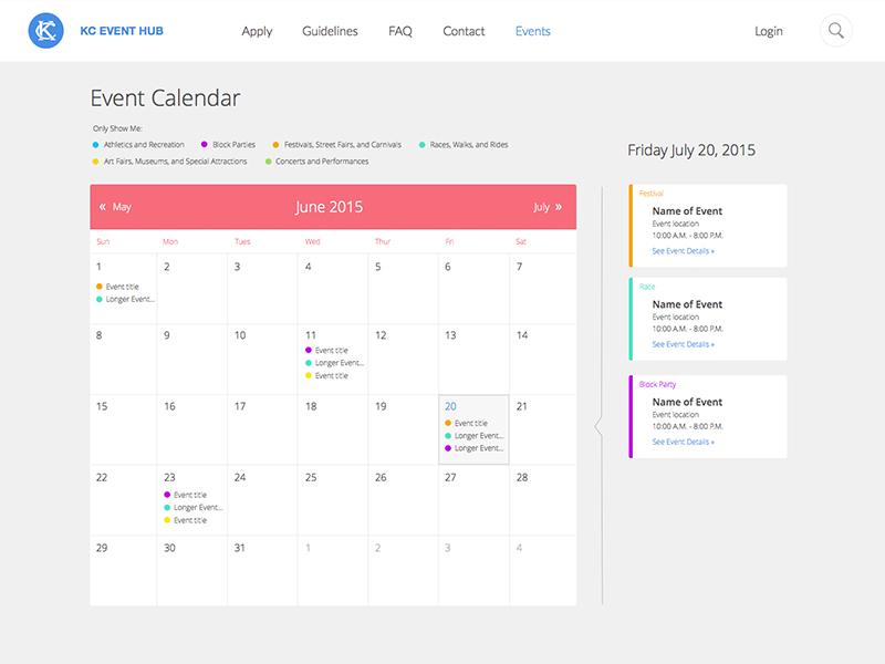 KC Event Hub - Event Calendar interface design web design ui ux event calendar kansas city