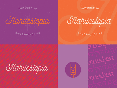 Harvestopia #1 Branding Exploration harvesters script type branding logo kansas city