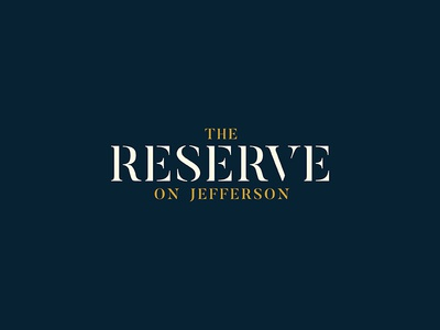 The Reserve on Jefferson dine shop bistro antiques cafe kearney wordmark logotype logo branding