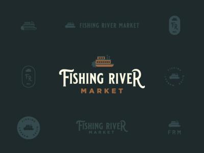 Fishing River Market Unused concept #2 excelsior springs riverboat antiques fishing river market antique store market river fishing typography kansas city branding logo