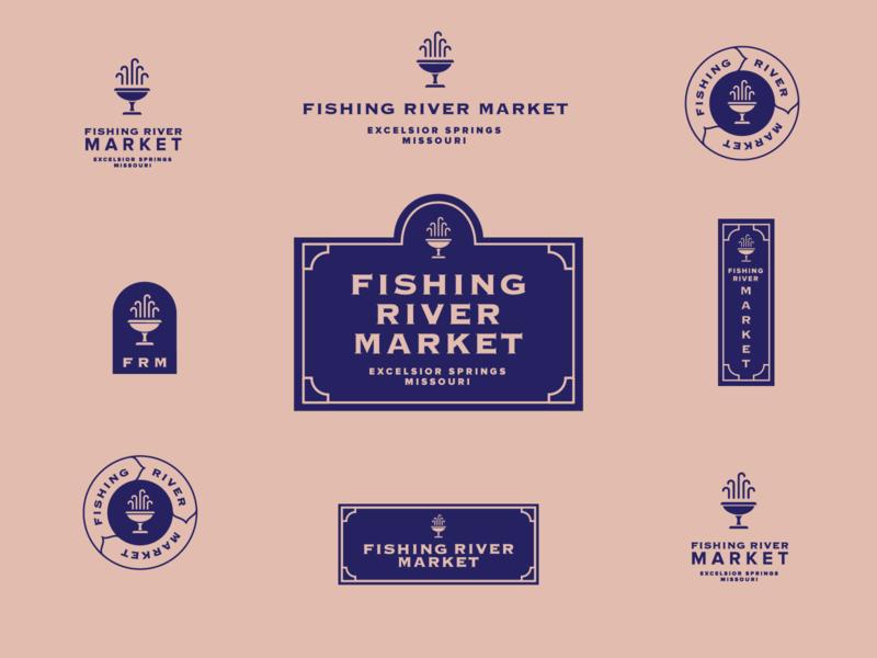 Fishing River Market Unused concept #3 kcmo kansascity flea market logo label vintage pink blue mineral springs excelsior springs springs branding brand antiques store antiques