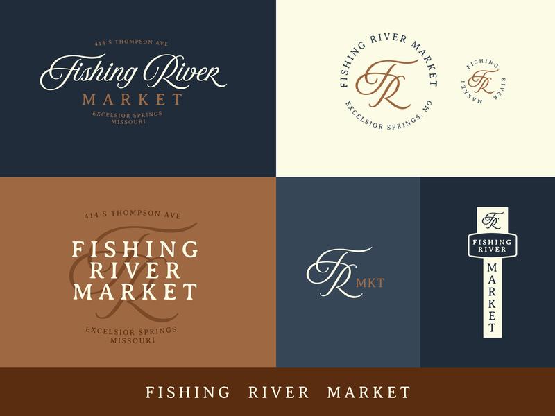 Fishing River Market - Final Brand vintage kcmo excelsior springs logotype brand antiques script type branding kansas city logo