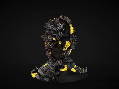 Dark shadow motion design head modeling cinema 4d