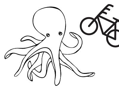 Octobike t-shirt illustrations illustration bike bicycle fun joke character t-shirt octopus