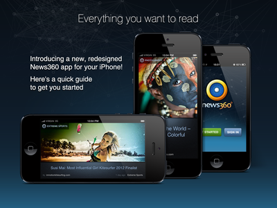 News360 for iPhone promo page header iphone promo promotion bright dark ui interface mobile blue ux
