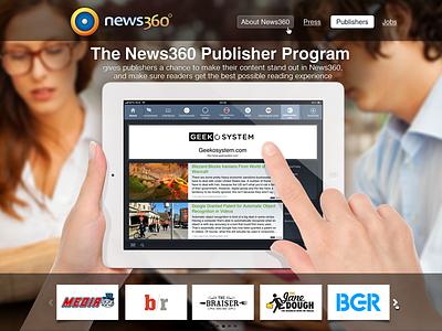 Publishers program promo page promo page web header promotion slider ipad partners gallery
