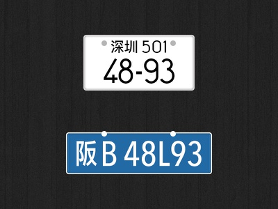 License Plate Reverse japan china plate license