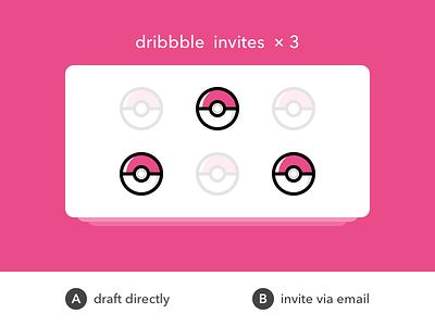 3 dribbble invites dribbble pokeball invite