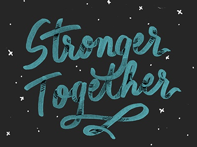 Stronger Together font typography custom type stars navy blue script lettering texas houston strong