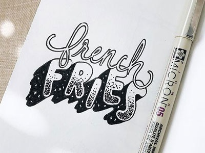 🍟 hand lettering script black and white micron pen custom lettering custom type ink typography lettering