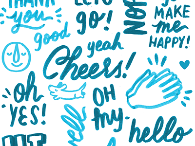 Cheers hand lettering lettering script marker typography blue type illustration