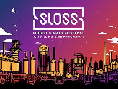 Sloss Music & Arts Festival Poster Illustration dusk night water tower city illustration line art festival music festival gradient poster design skyline