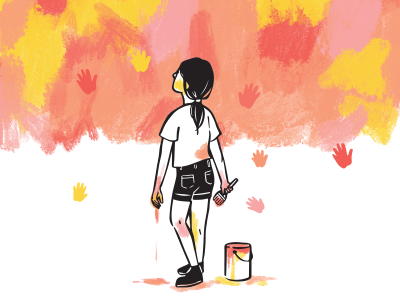 A Mural for Hope kids illustration children illustration girl painting painting paint mural illustration mural illustration