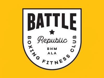 Battle Republic gold logo bright bold gym logo fitness logo boxing logo logo fitness gym boxing