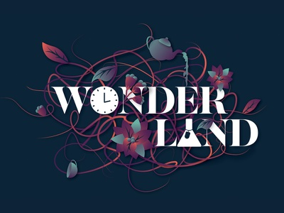 Wonderland lockup logo party event tea pot winter wonderland alice wonderland