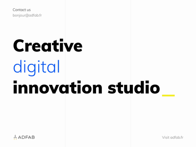 Adfab - Creative digital innovation studio development digital human innovation creative site contact adfab studio branding animation design ui