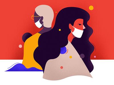 Quarantine ui design boy girl shapes character vector graphic illustration coronavirus quarantine
