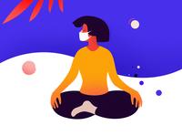 Keep Calm coronavirus stayhome mask shapes abstract girl character vector graphic illustration