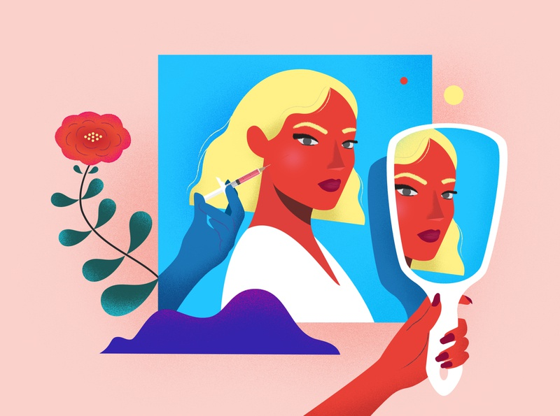 Beauty rituals pink art shapes character vector graphic hands cosmetology flower mirrors girl blonde beauty