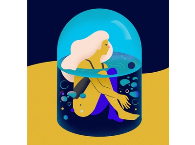 Isolated water design blonde abstract girl shapes character vector graphic illustration